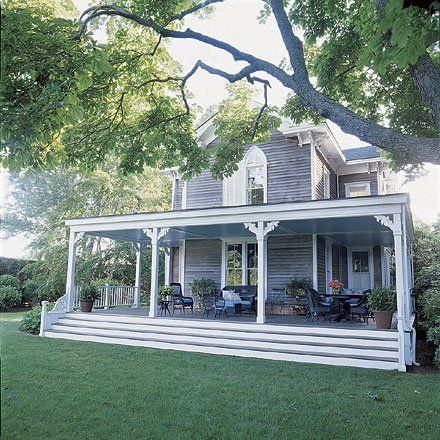 Ok I love where we live. And we will be building on our land someday. BUT IF A BIG OLD FARM HOUSE LIKE THIS CAME AVAILABLE I'D TOTALLY MOVE!!!! This back porch is phenomenal!