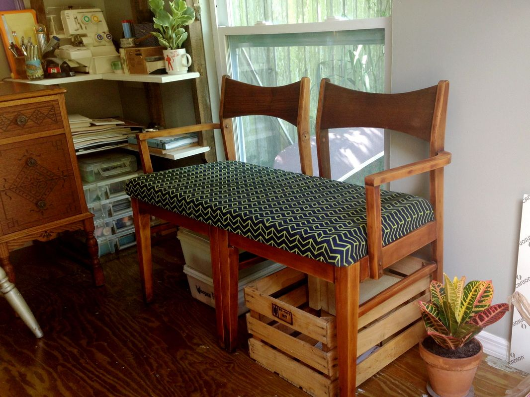 diy two old chairs into bench ish thing emily grace king home