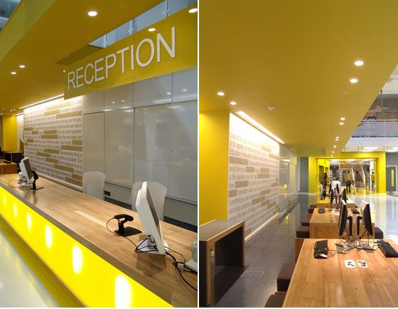 Plastolux keep it modern modern library refurbishment for Office design yellow