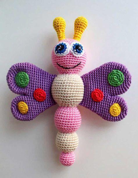Gehäkelte Schmetterling Babyrassel - freies Muster | Bilder ...