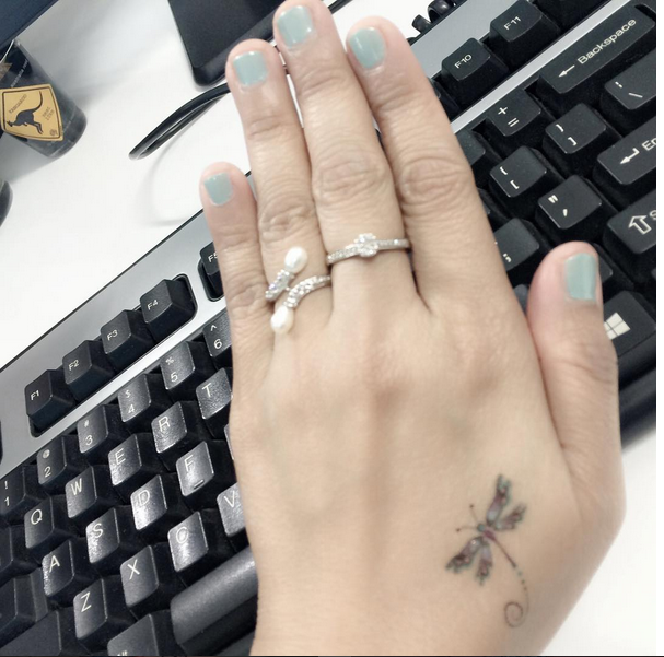 small dragonfly tattoo on hand ink Youqueen girly