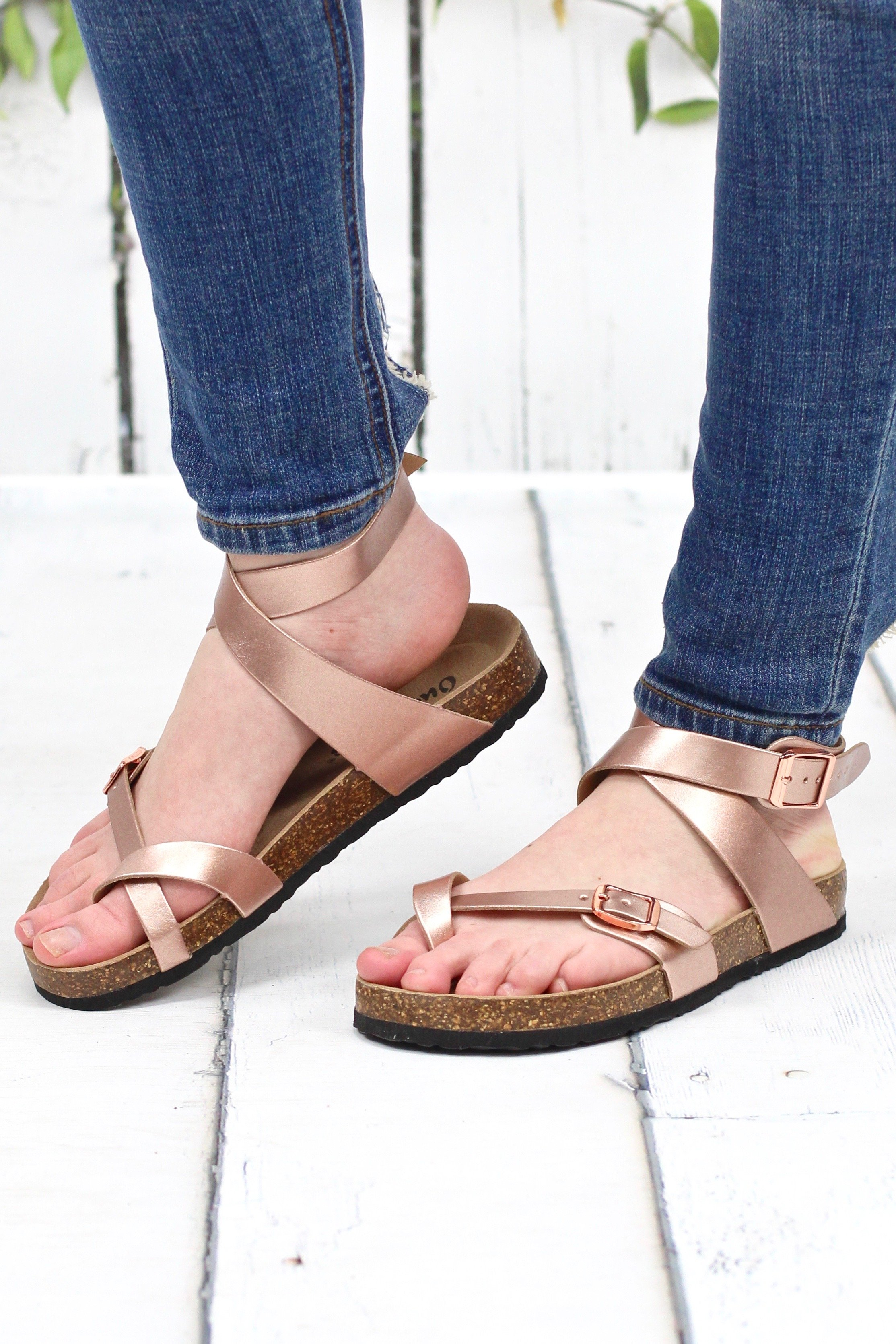 aa7e10c9627 We are loving these toe strap sandals that feature a wrap around ankle  strap. So cute for spring and summer. They look like Birkenstock s for a  fraction of ...