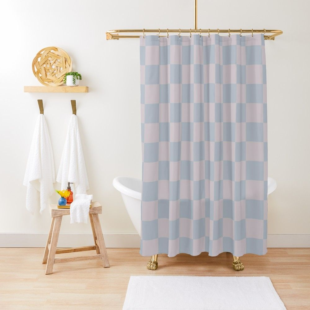 Soft Dusty Mauve And Teal Checks Shower Curtain