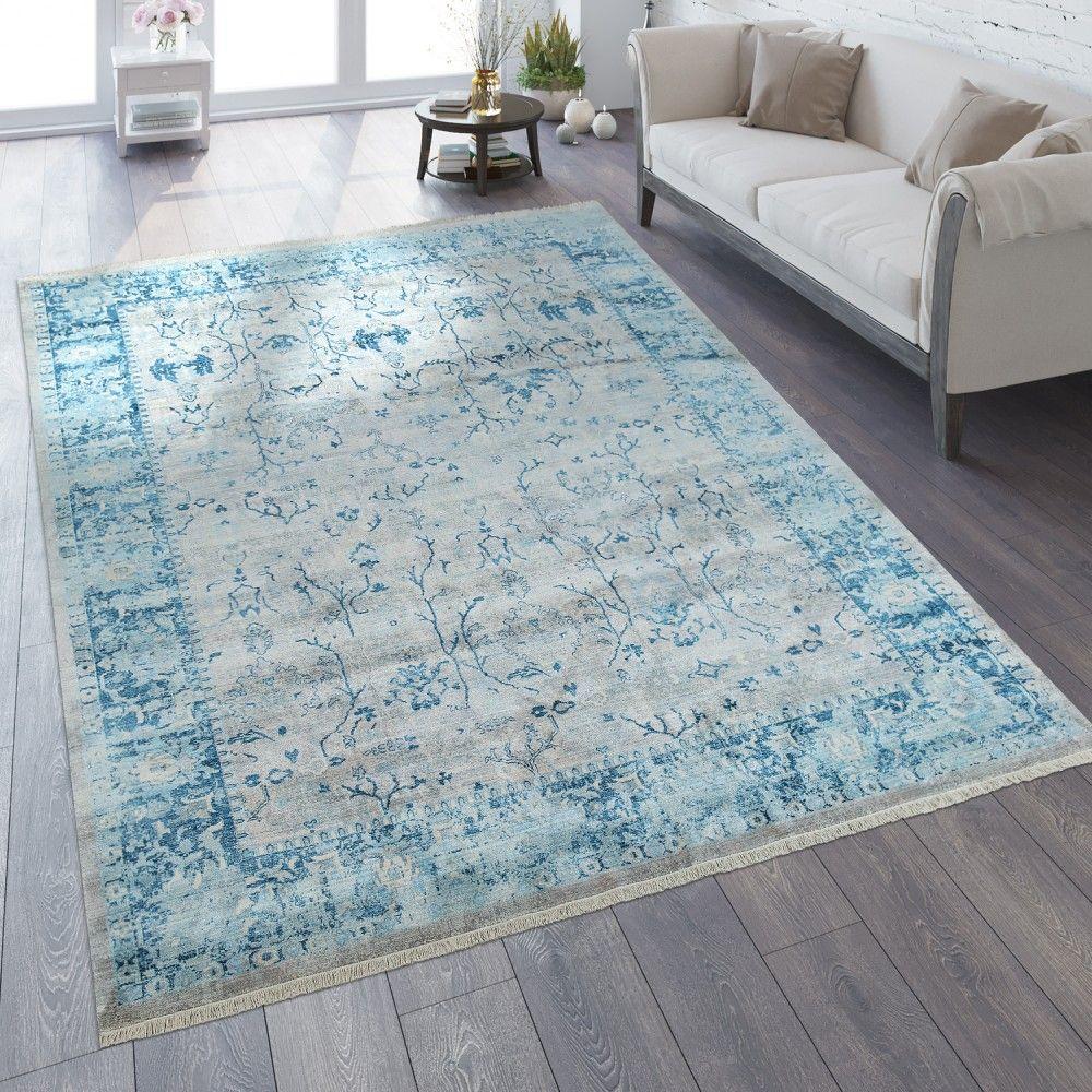 Orient Teppich Vintage Optik Bordure Silber Grau In 2020 Blaue