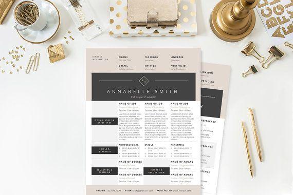 Elegant Modern Resume Cover Letter  by JannaLynnCreative on Etsy - resume sample writing for fresh graduate pdf