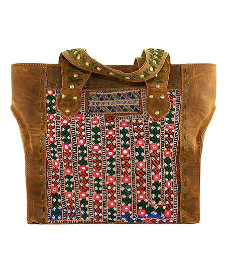 Chocolate & Coral Embroidered Leather Tote