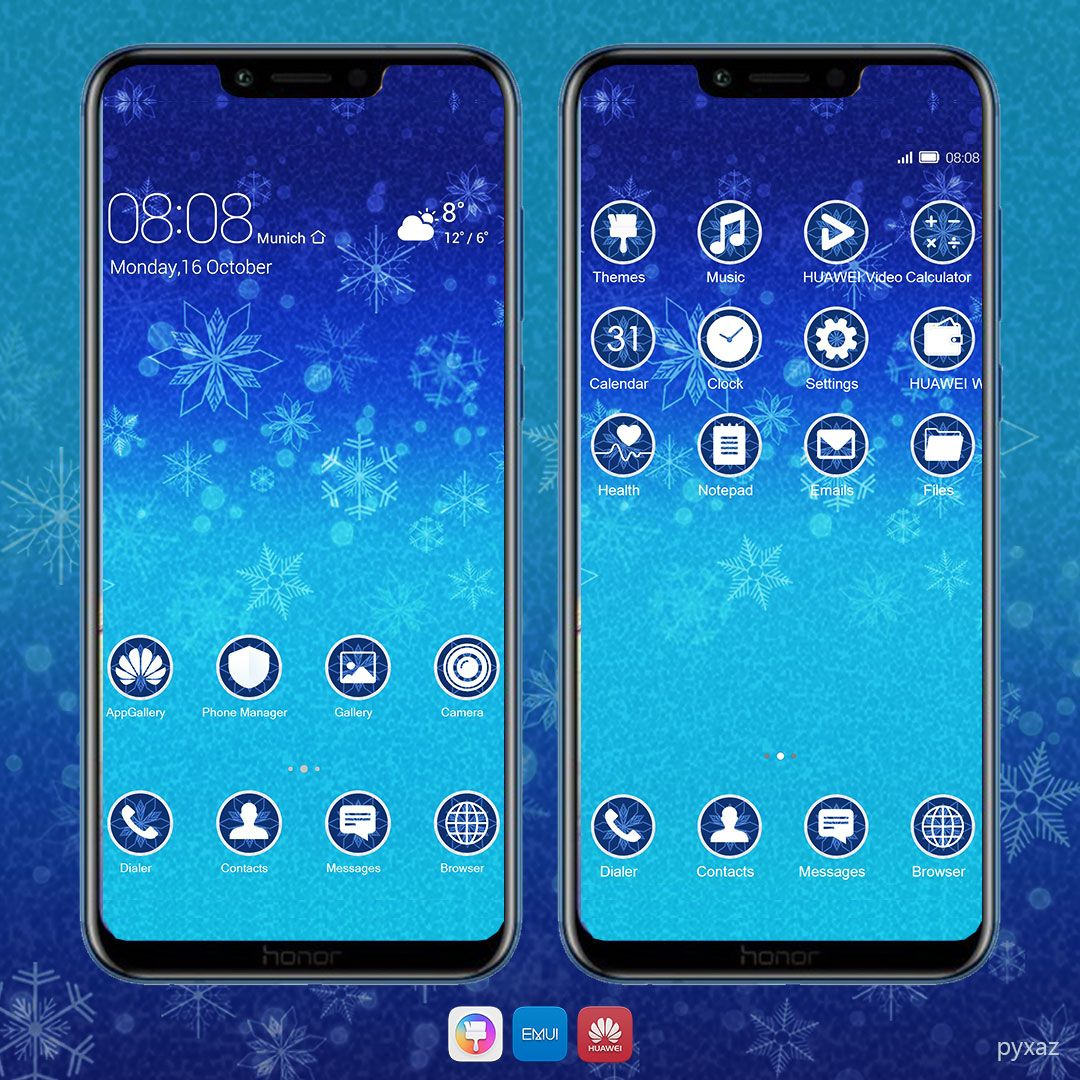 Blue Blizzard Theme and Icon Packs for Huawei Emui 8