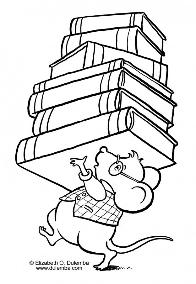 Library Mouse Coloring Page