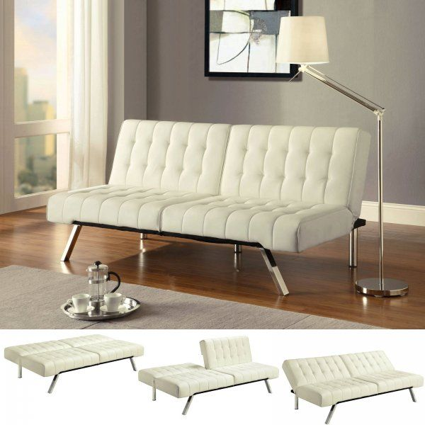Emily Faux Leather Convertible Futon Sofa In Vanilla 269