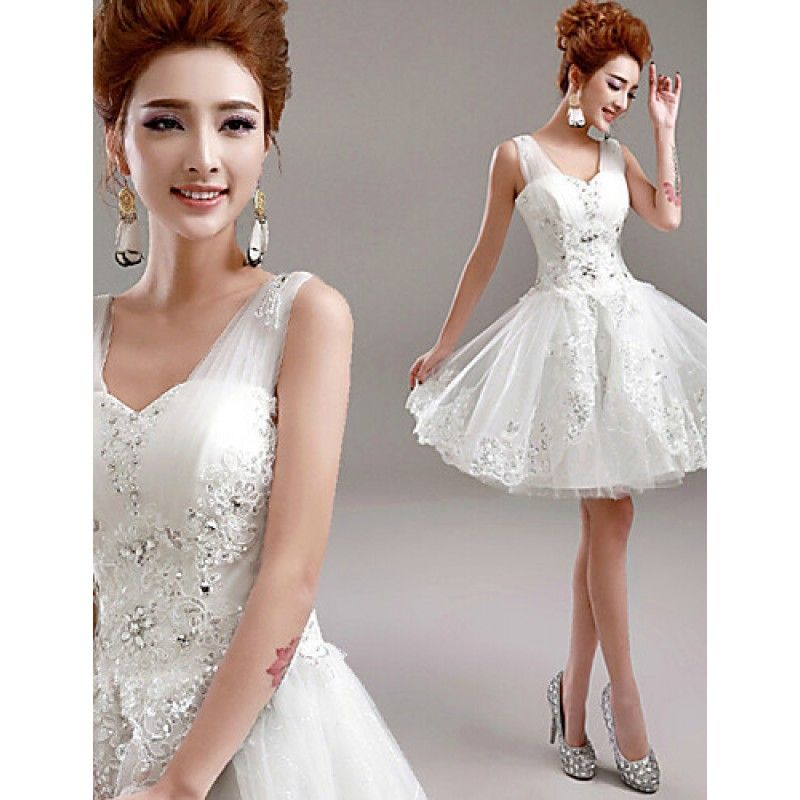 c272799daacf A-line Wedding Dress Short Mini V-neck Tulle with | Wedding Ideas ...