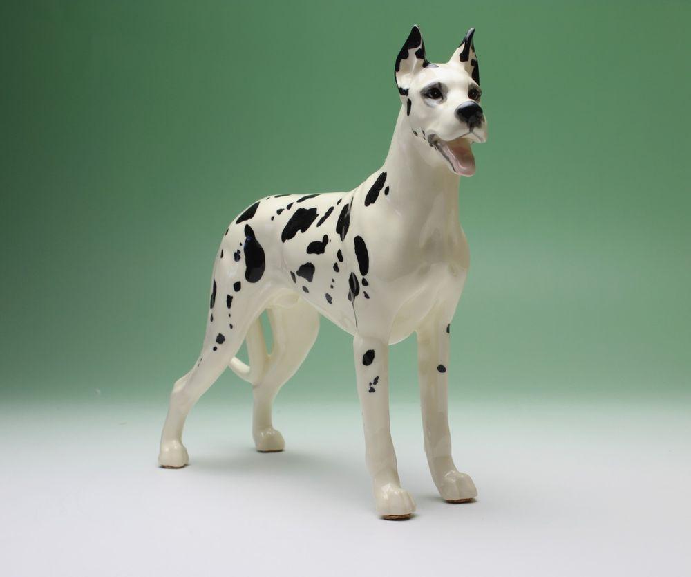 Harlequin Great Dane Standing Dog Ceramic Porcelain Figurine Japan