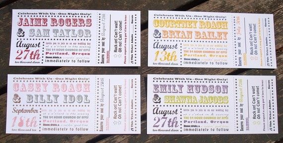 Save the Dates that fit our rockabilly\/retro theme and concert - invitations that look like concert tickets