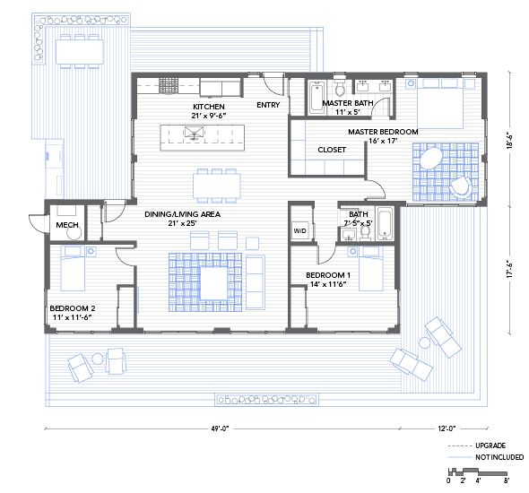 The balance house floor plan needs a breeze way but is for Beach box house plans
