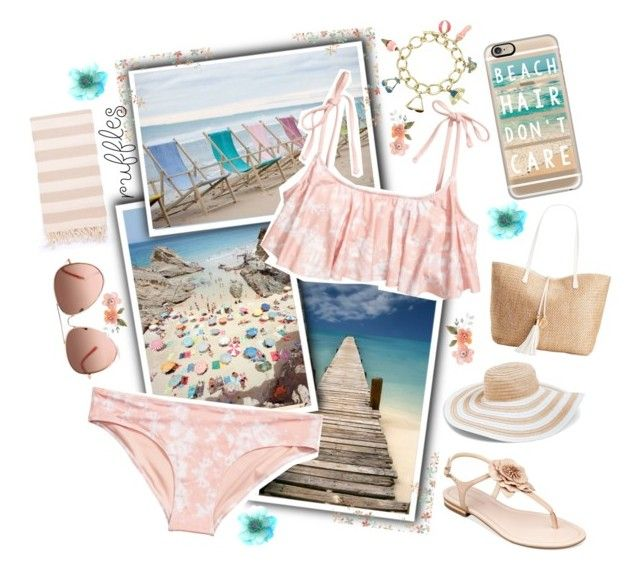 """Beach Hair Don't Care (Contest)"" by nerdygalwithwings ❤ liked on Polyvore featuring Turkish-T, H&M, INC International Concepts, Casetify, Vera Bradley, Marc Fisher, beach and ruffledswimwear"