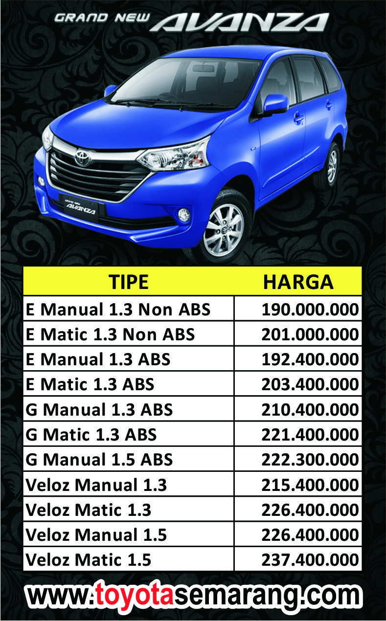 Harga Grand New Avanza Semarang All Camry Hybrid Kredit Dan Toyota Di Demak Purwodadi Kendal Ungaran