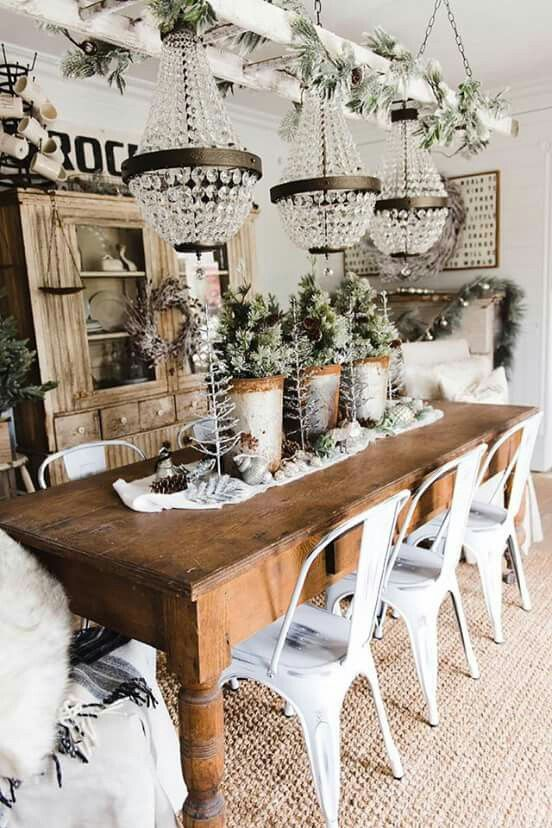 rustic dining with lots of bling Farmhouses Pinterest