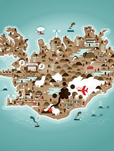 Iceland Art Print by Steebz #map #iceland