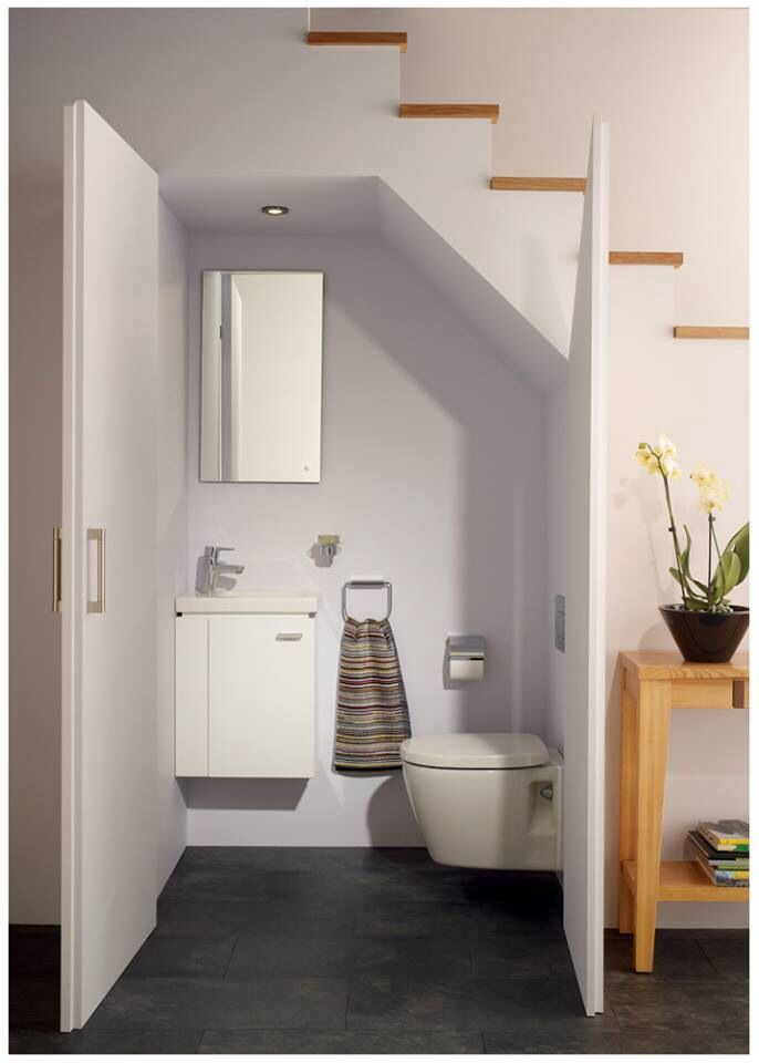 Great Idea For The Space Under The Stairs Bathroom Under