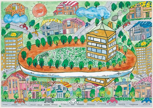 Un Habitat Award Silver Prize Mao Nishikawa 5th Grade Miyata Minami Elementary School Japan Childrens Drawings Drawings Art Gallery