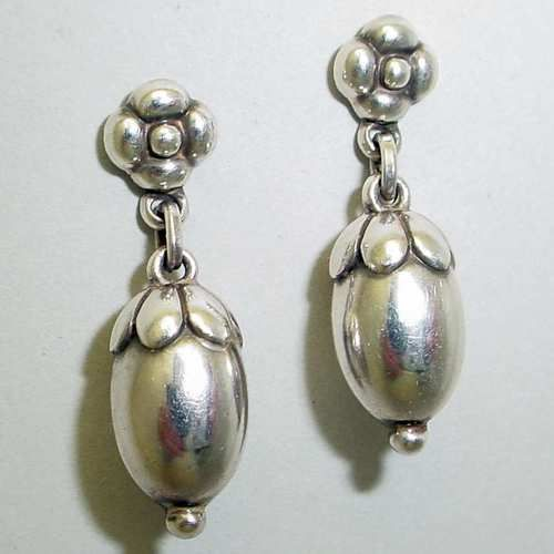 Vintage Georg Jensen Earrings 4 Sterling Silver Clip On Condition Fine Preowned Year After 1945 Size 1 3 8 Hanging