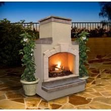 Cal Flame 48 Inch Outdoor Propane Gas Fireplace With Stack Chimney