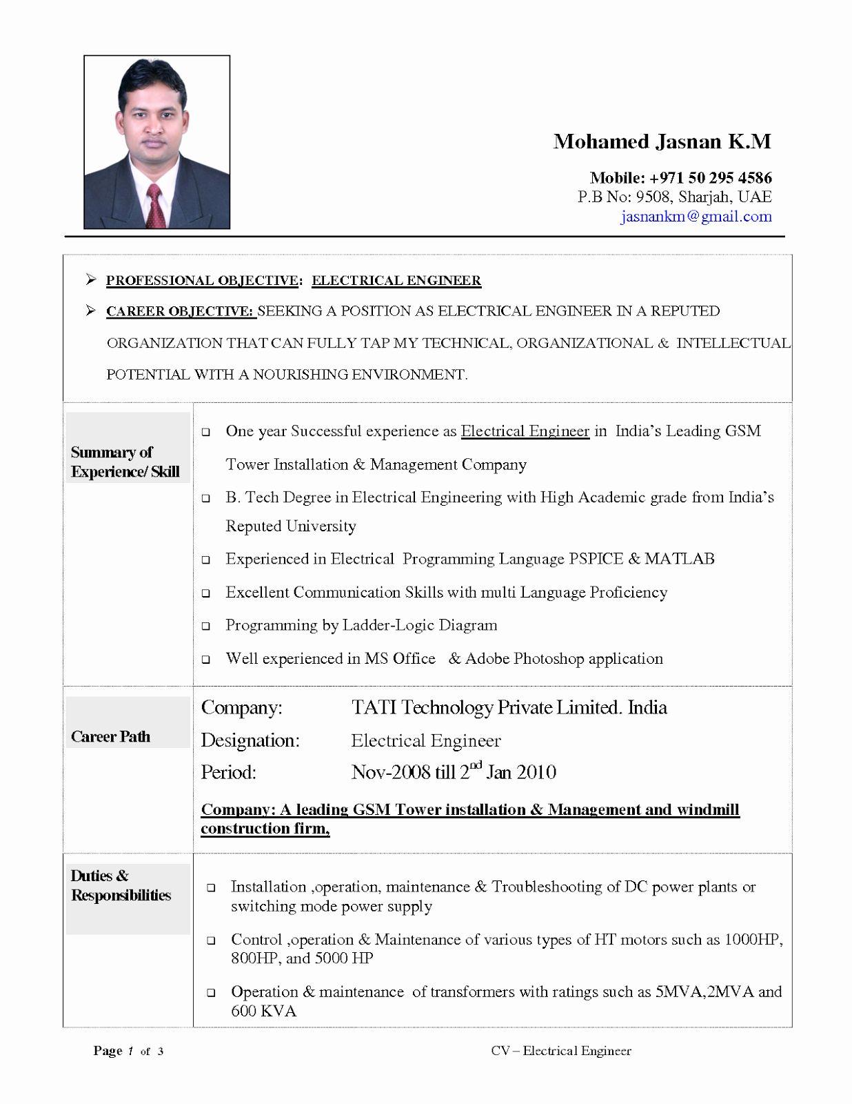 Electrical Engineer Resume Sample Beautiful Resume Objective Examples Electrical Engineering Tipss Engineering Resume Resume Examples Job Resume Examples