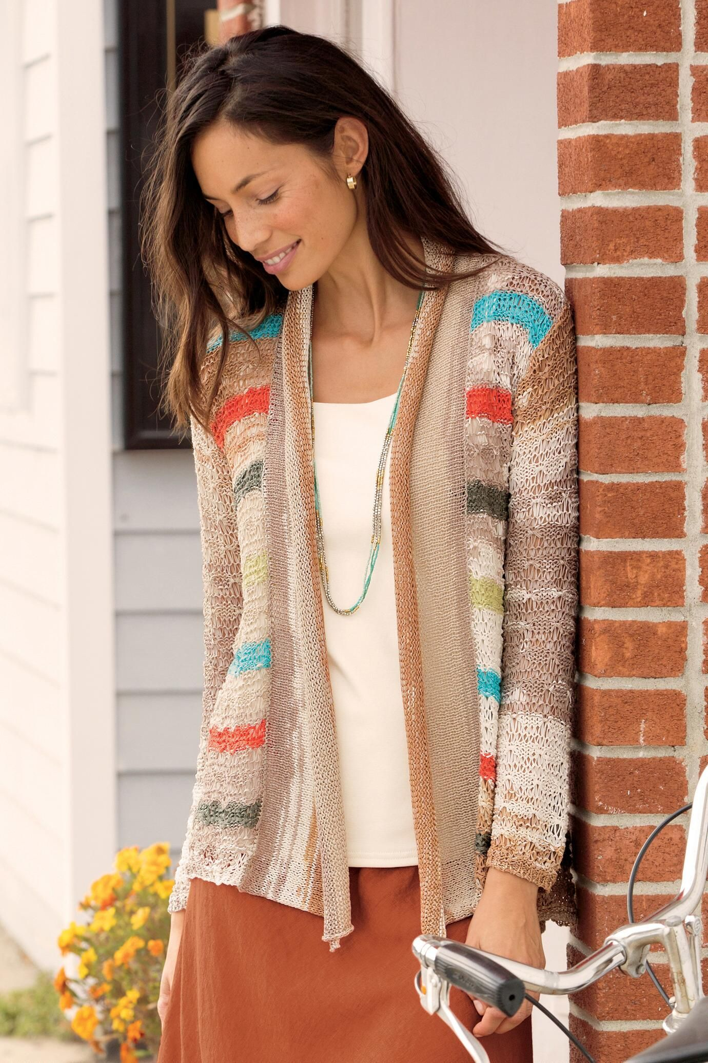Striped flyaway cardigan sweater unique clothing man women and woman