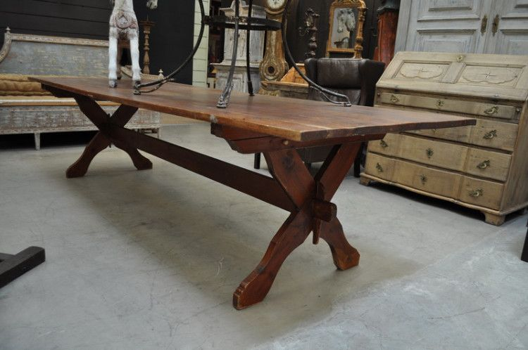 Big Trestle Table From 1900 From FarFetchers.com