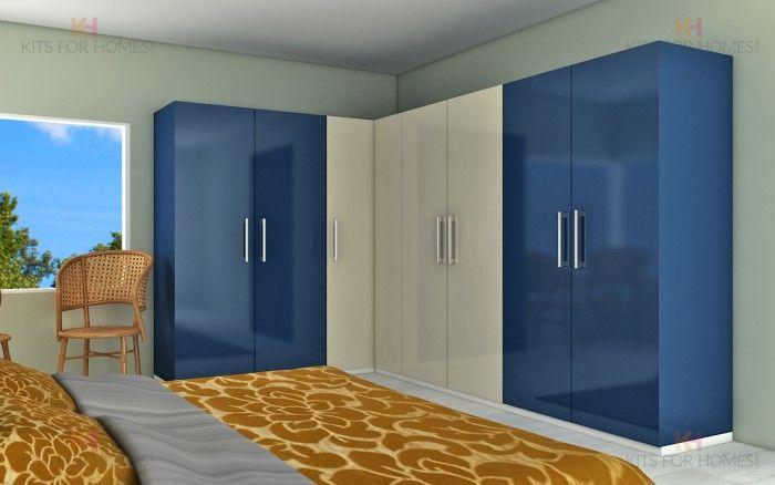 8 Door L Shape Wardrobe In Blue And Pearl L Shape Modular Wardrobes Tall Cabinet Storage