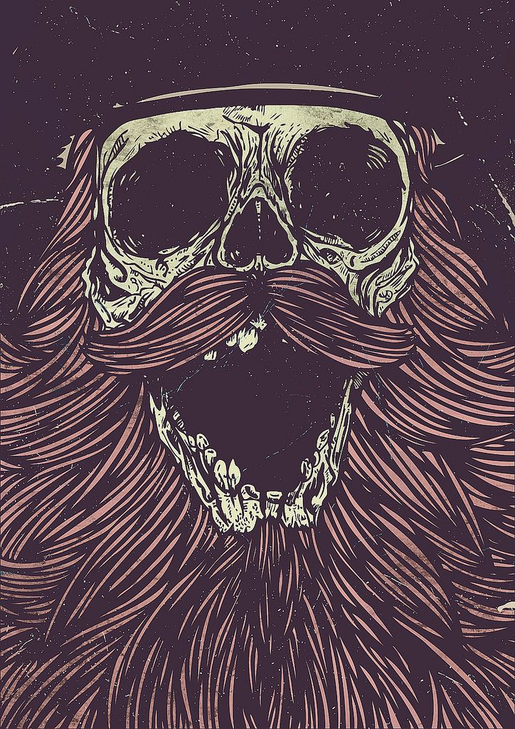 Psychedelic beard art bearded skull skeleton