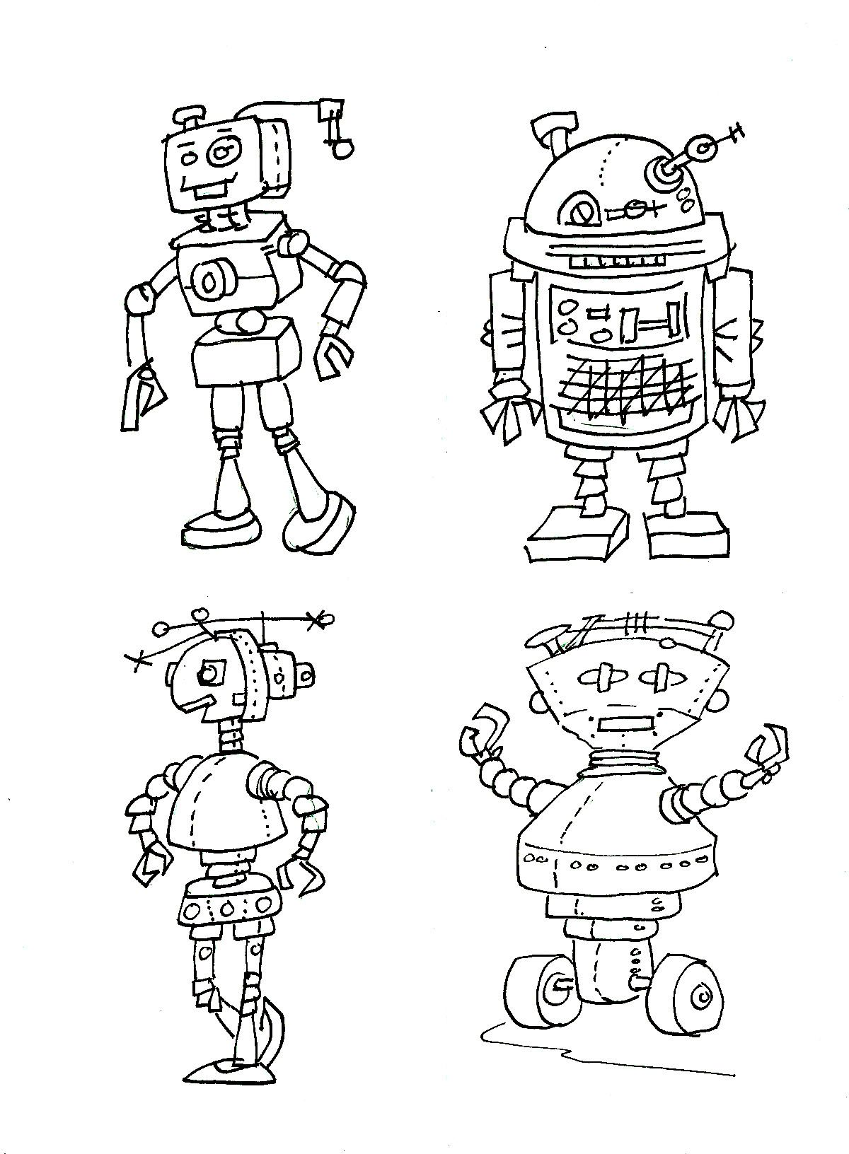 4 Of my darling robots to color | CHILDREN - Coloring pages | Pinterest