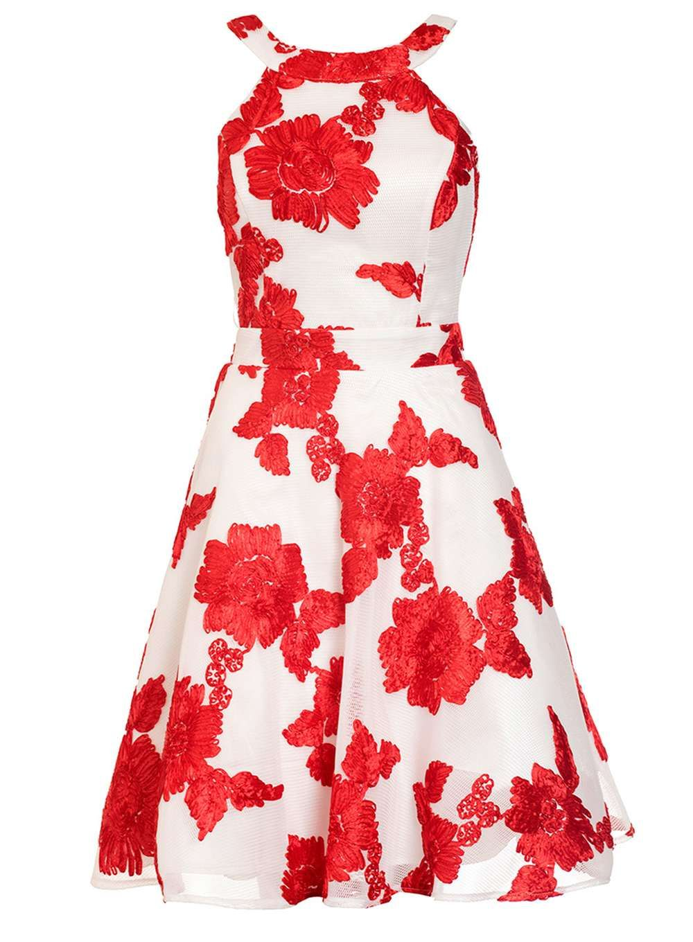 Womens quiz red and cream flower applique prom dress multi products