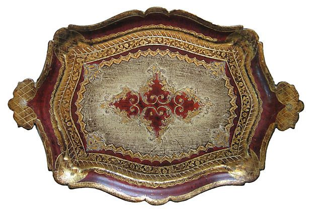 Red Gold Florentine Tray