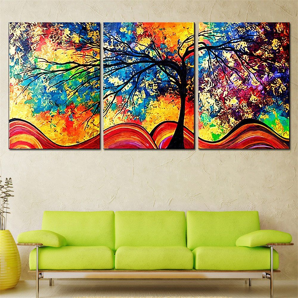 Living room oil paintings - Drop Shipping Abstract Oil Painting Colorful Trees Modern Canvas Wall Art Picture No Frame Wall