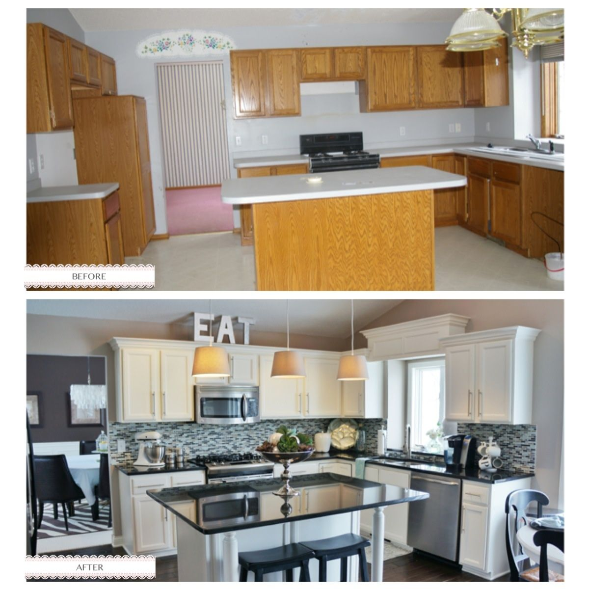 "Kitchen Updates Before And After: 90's Kitchen Makeover Not A Huge Fan Of The ""eat"" Sign Of"