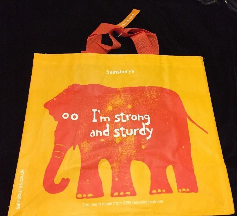 Elephant Eco Tote Bag Reliabag Sainsburys Uk Orange Reuse Recycled Large New