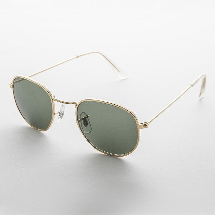 Round Squared Edge Vintage Sunglass with Glass Lens - Brody ...
