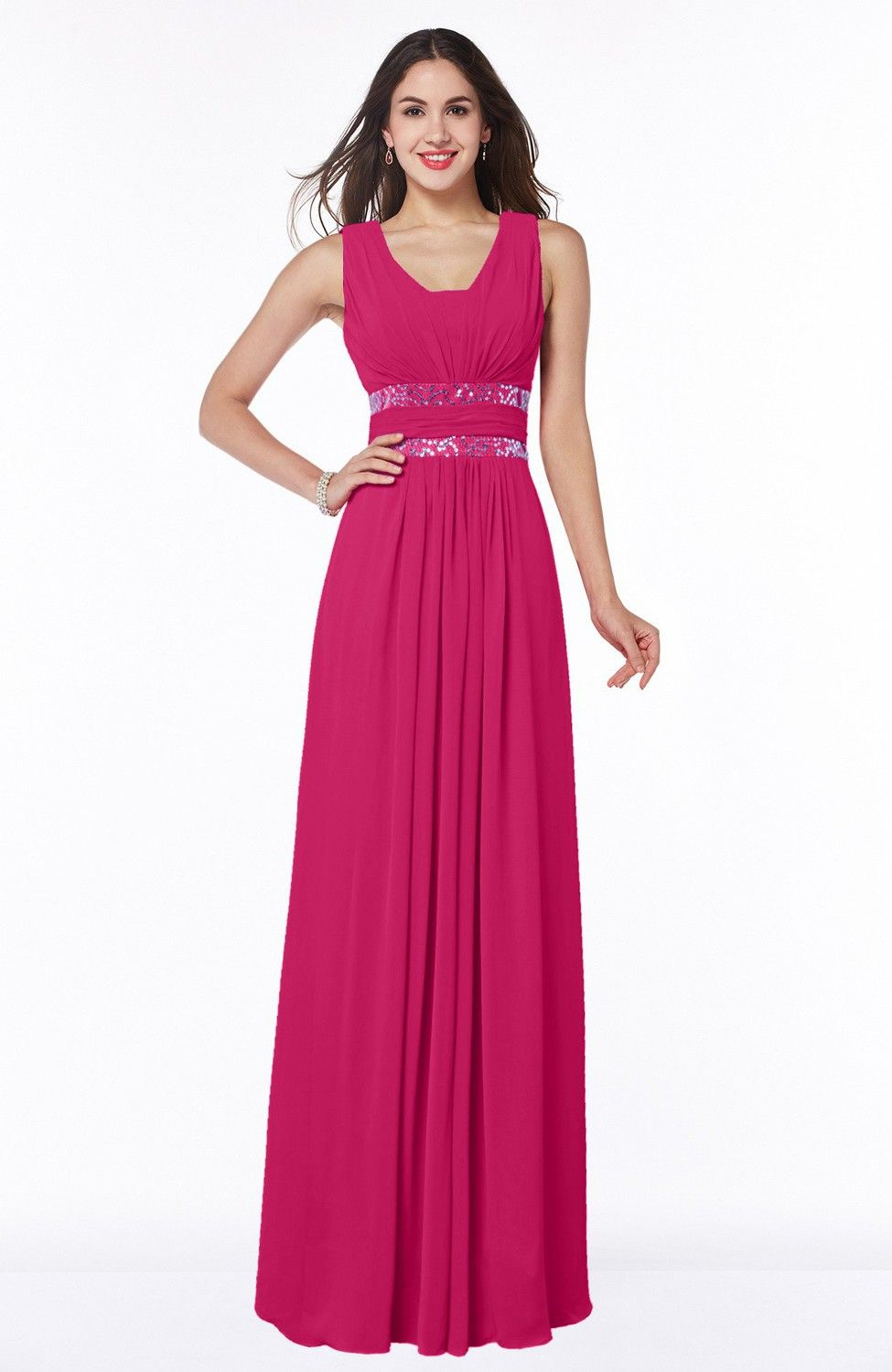 Fuschia Bridesmaid Dress - Sexy A-line Zipper Floor Length Pleated ...
