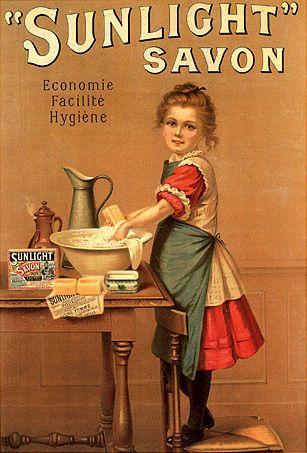 SUNLIGHT SOAP WASHING GIRL | Vintage posters, Vintage ...