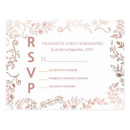 Elegant White Wedding Theme: Elegant White Rose Gold Floral RSVP Postcards