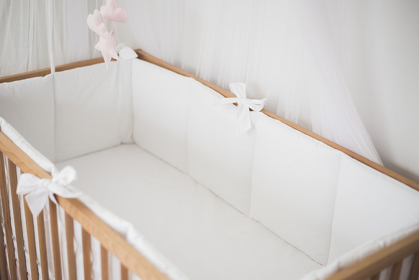 White Cotton Baby Bumper With Bows White Crib Bumper Nursery