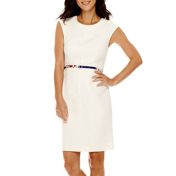 Worthington® Cap-Sleeve Belted Sheath Dress - JCPenney