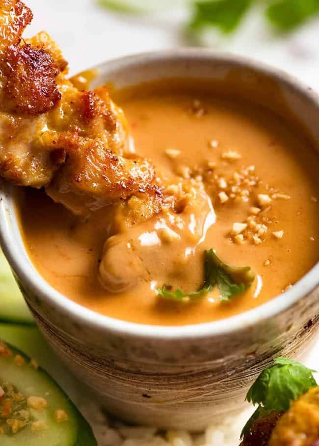 Thai Chicken Satay with Peanut Sauce #hamburgermeatrecipes