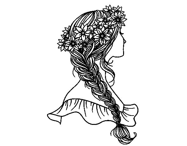 Coloriage De Coiffure Avec Tresse A Colorier Imprimer O Telecharger Coloriez En Ligne Avec Un Jeu Pour Colorier Coloriages Coloriage Colorier Dessin Coiffure