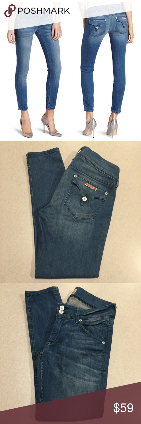 """Hudson Jeans 27X27 Collin Skinny Crop In Aruba! Hudson Jeans Collin skinny crop Aruba wash! (Modeled pictures are of exact fit and wash) Size 27 27 inch skinny fit inseam 15.5"""" across waist, 7.5"""" rise A pretty vibrant blue denim Only worn a few times Perfect condition!   All of my items come from a smoke free, pet free home and are authenticity guaranteed. Please ask any questions, no returns for fit issues. 10 1/28 Hudson Jeans Jeans Skinny"""