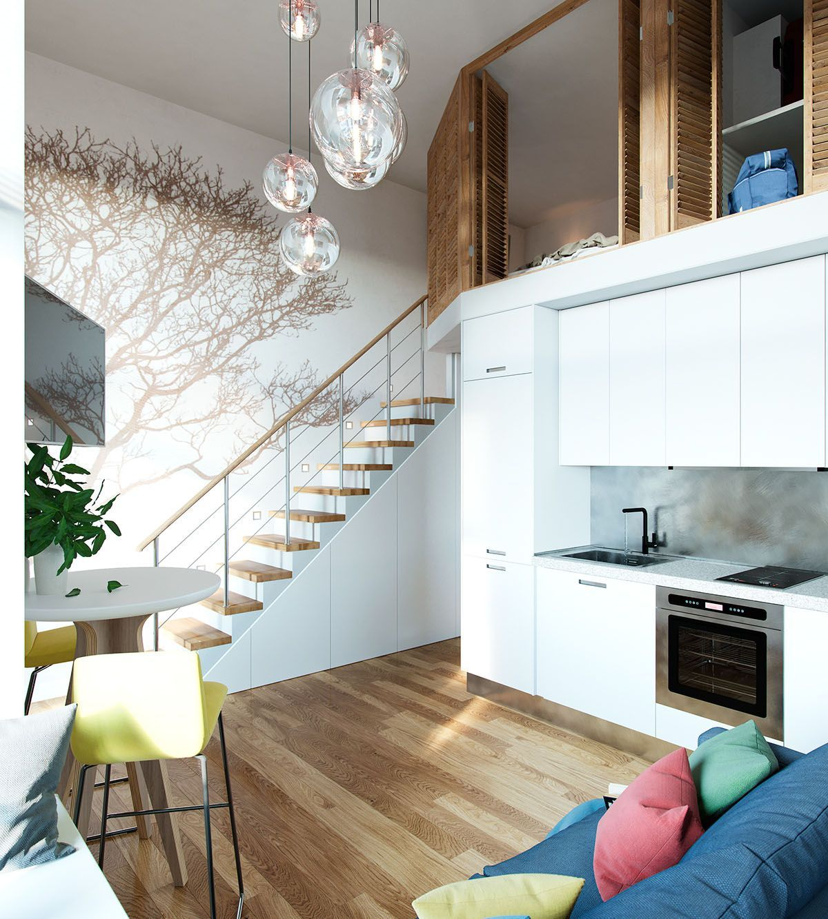 Small Studio Apartment In Moscow With Loft Bedroom Idesignarch Interior Architecture Arc Small Loft Apartments Studio Apartment Layout Loft Apartment