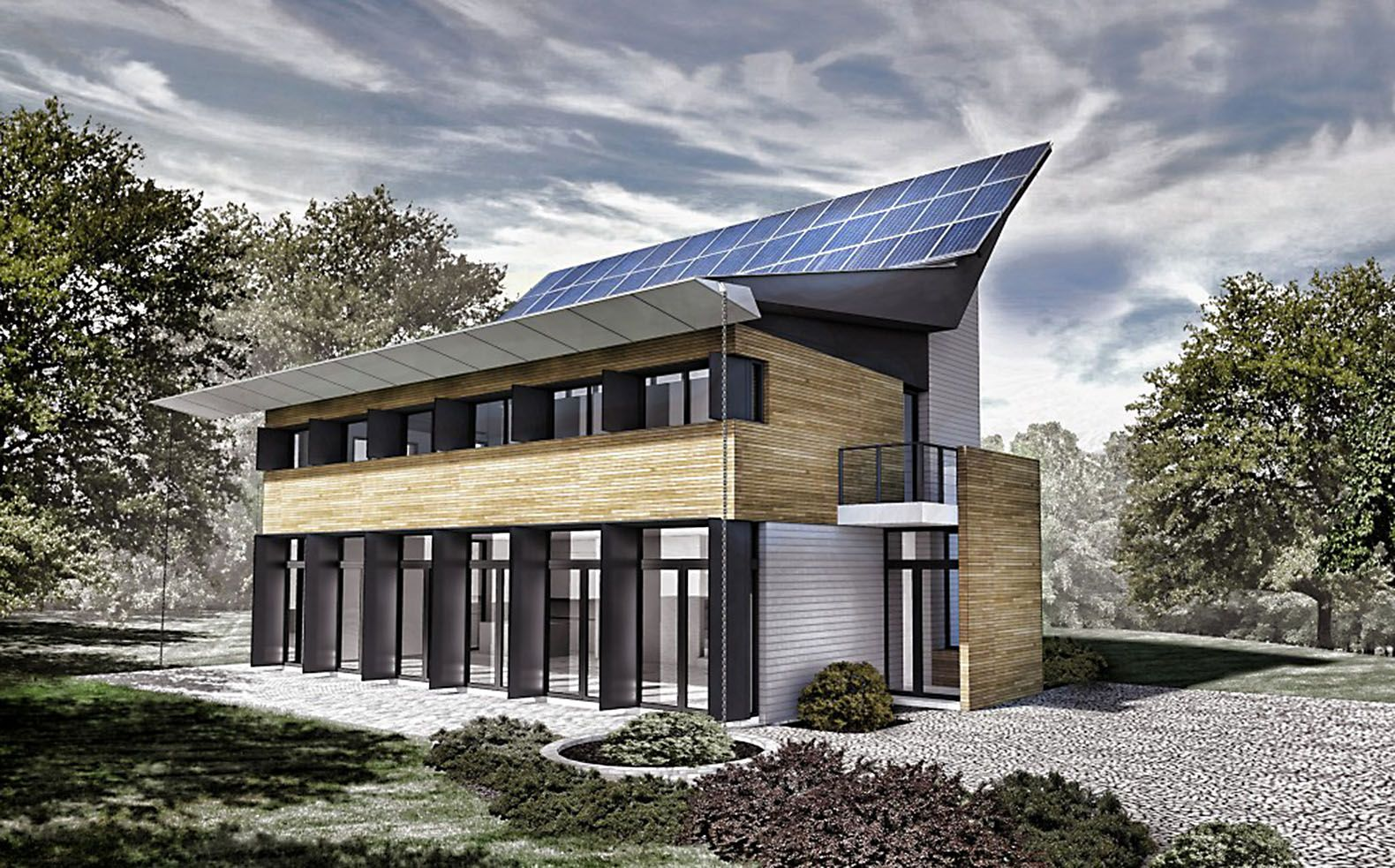 Ultra modern pv house boasts scissored solar panels for a for Super modern house