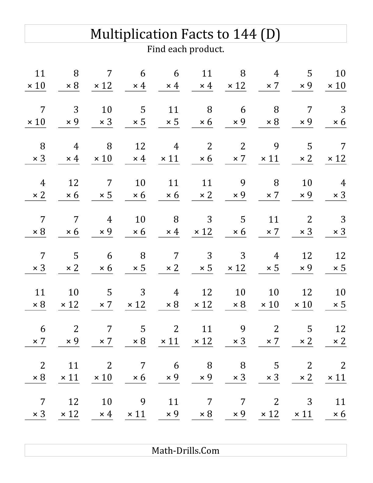The Multiplication Facts To 144 No Zeros No Ones D