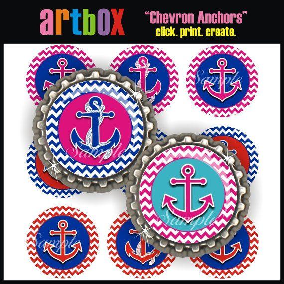Chevron Anchors Bottle Cap Images - 4x6 Digital Collage Sheet - Nautical BottleCap One Inch Circles for Pendants, Hair Bows