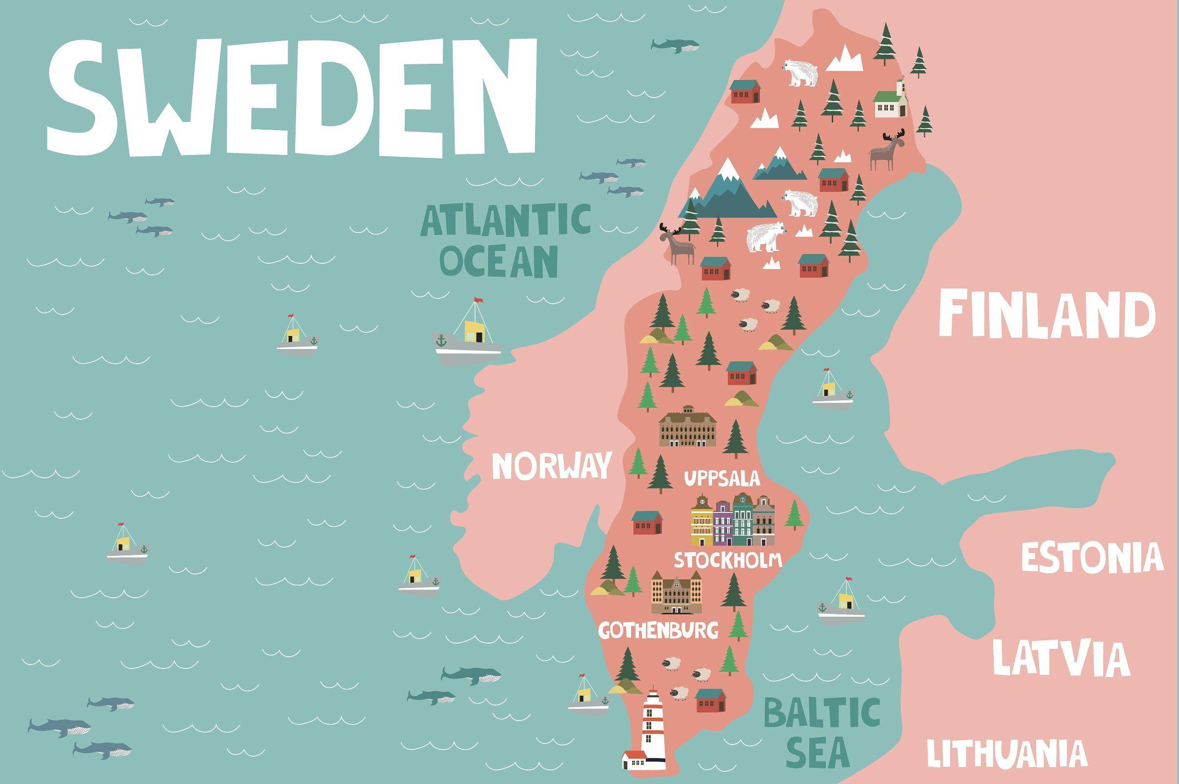 Illustration Maps Part 3 Illustrated Map Sweden Map City Maps Illustration